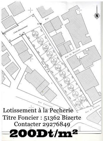 Réf 3018:اراضي مقسمة للبيع بالمصيدة بنزرت