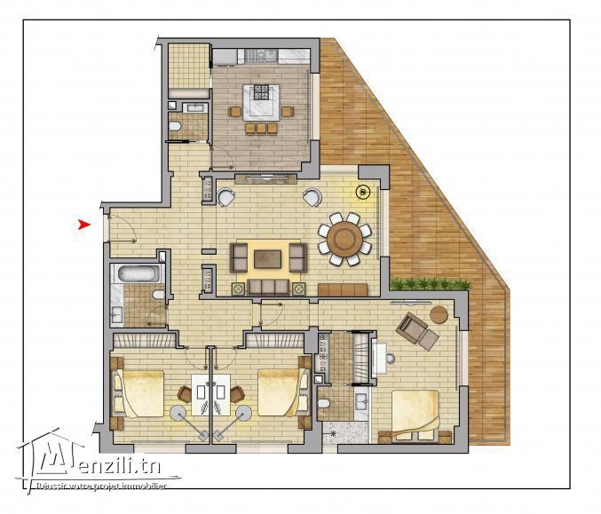 Appartement S+3 de 238 m² en plein corniche de Sousse