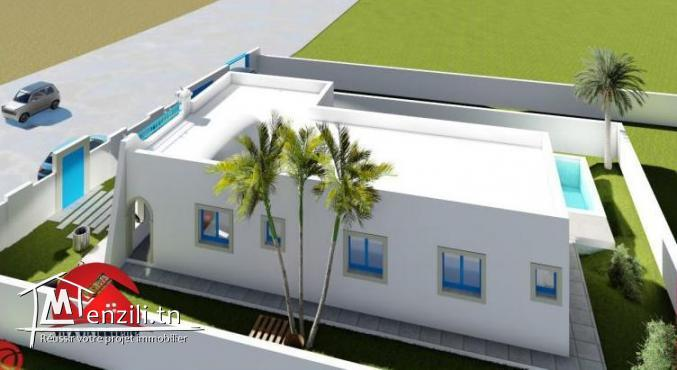 :CONSTRUCTION MAISON PLAIN PIED AVEC PISCINE A DJERBA HOUMT SOUK