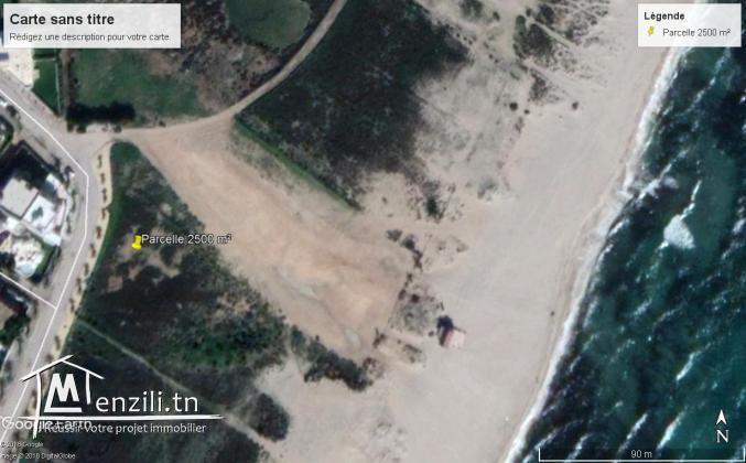 maamoura plage vend lot de terrain 1000 m2 pieds dans l'eau