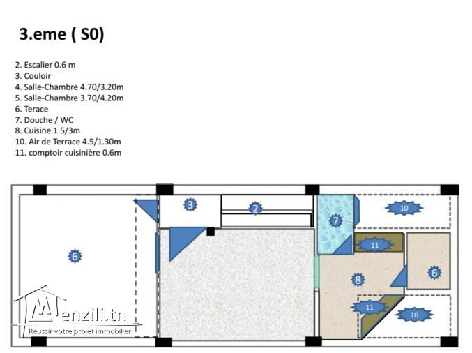 Appartment S0 en 3. étage au centre Korba