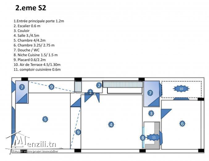 petit Appartement S2 au centre commercial de korba ville