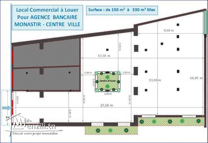 LOCAL COMMERCIAL POUR AGENCE BANCAIRE MONASTIR - 330 m²