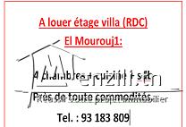 A louer étage villa (RDC)  El Mourouj1