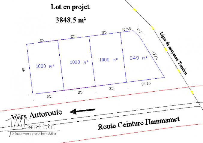 terrain de 1000 m² à kharrouba
