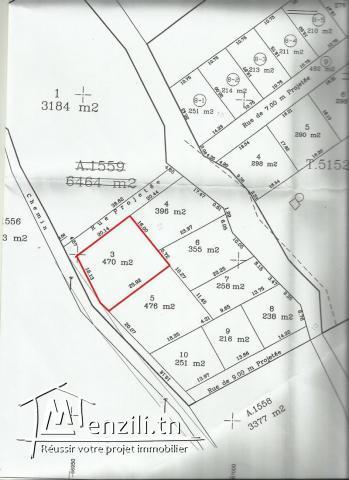 terrain de 470 m² à Kharrouba Hammamet Nord