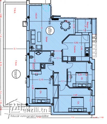 Appartement S+3 de 140 m² à AFH Mrezgua