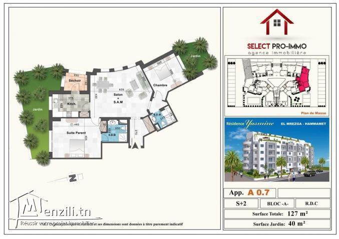 S+2 de 127 m² avec 40 m² de jardin à AFH Mrezgua – NV1063