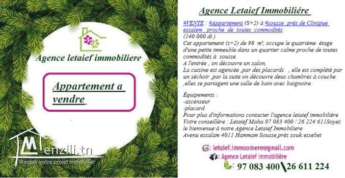 #Vente#Appartement_prés_de clinique Essalem