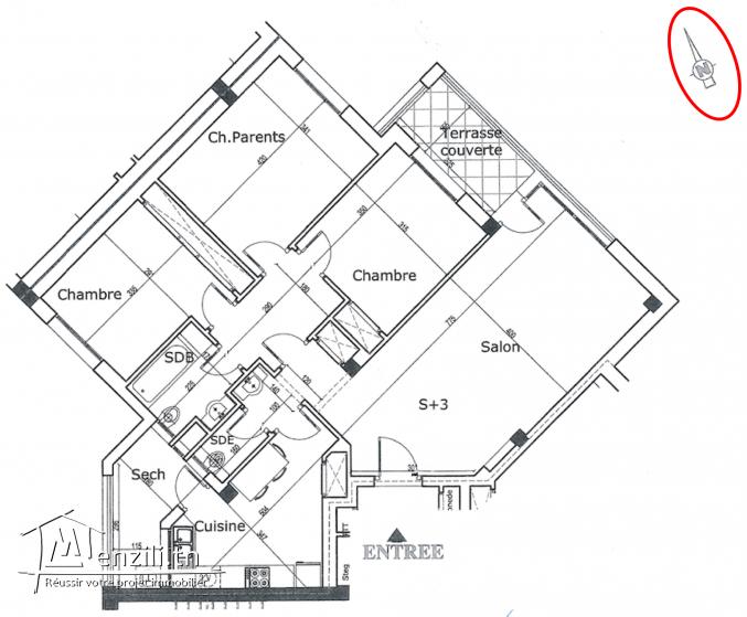 A louer un appartement S+3 neuf jamais habité 146m2 a La Manouba+ Parking ss Sol