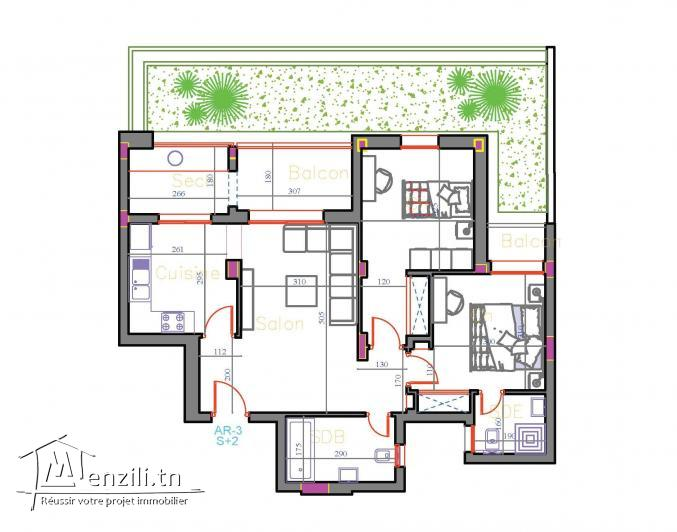 Un merveilleux S+2 Vue piscine avec suite parentale et jardin de 30 m² à AFH Mrezga