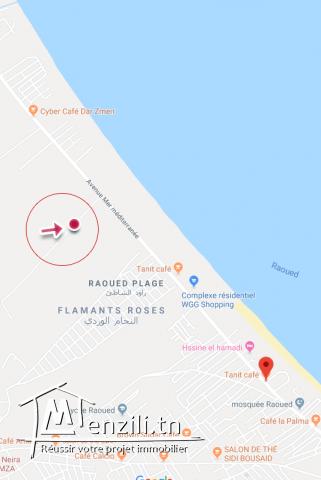 A vendre terrain nu 600 m2 belle situation à Raoued Plage