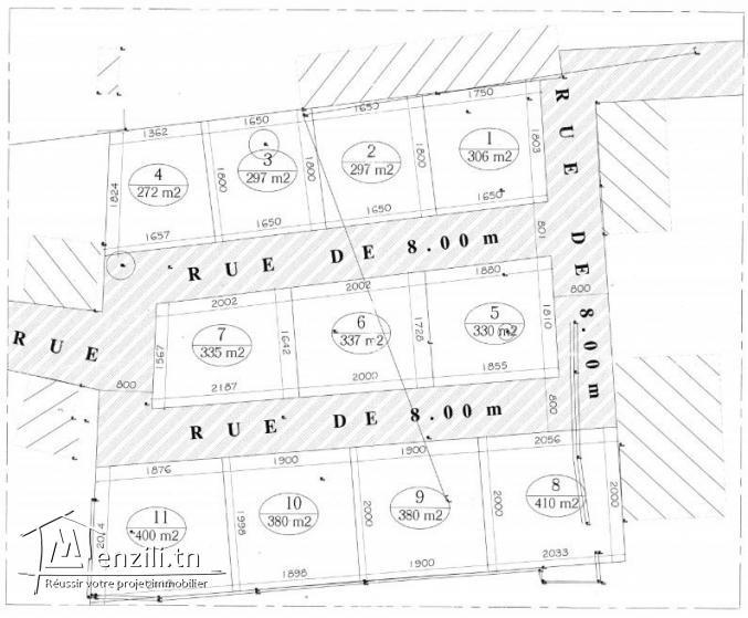10 lots de terrain a sidi ahmed zarroug de 272 m² à 410 m²
