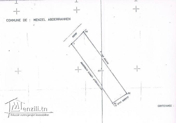 Réf DT 523 A vendre un Terrain à la Menzel Abderrahmen bizerte