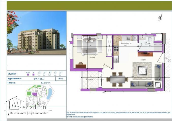 A vendre S+1 de 66m² à Cité el wafa Nabeul - JB215
