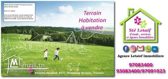 Réf227:Terrain a hammam sousse zone 114  sahloul