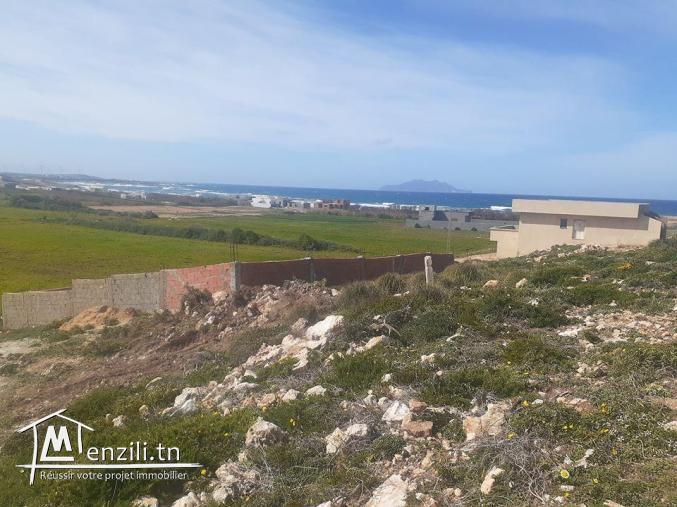 Un Terrain a la plage d'el haouaria vue de mer pied dans l'eau