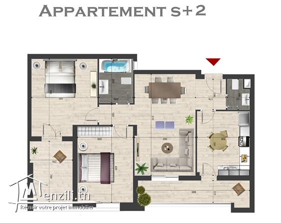 S+2 Neuf à Dorret El Menzah / Possibilité meublé