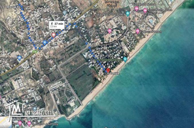 Terrain vu de mer à Hammamet Nord