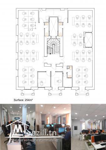 Étage d'immeuble usage bureautique en open space de très bon standing