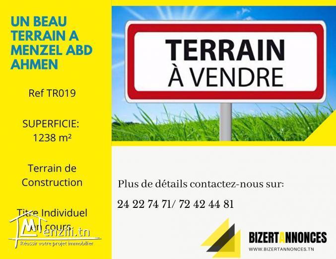 A Vendre Un terrain de construction à Menzel ABd Rahmen Bizerte