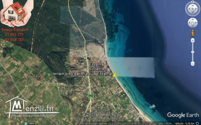 Terrain à vendre1000 m2 situé à ezzahra hamem ghezez pieds dans l'eau ezzahra