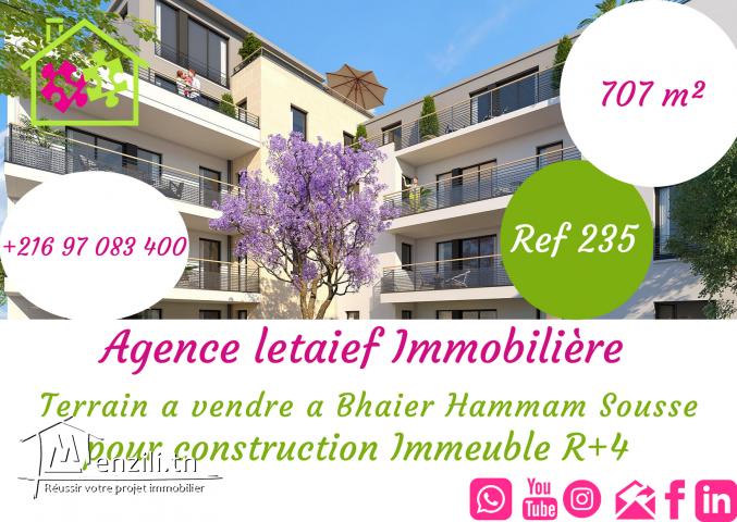 Un #Terrain de #707m² est en #Vente au #hammam_sousse_Bhaier pour construire immeuble R+4 REF 235