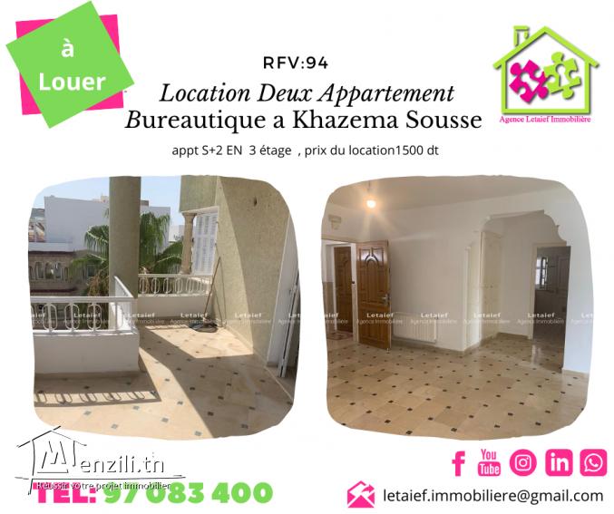 location annuelle deux appartements bureautique a khazema