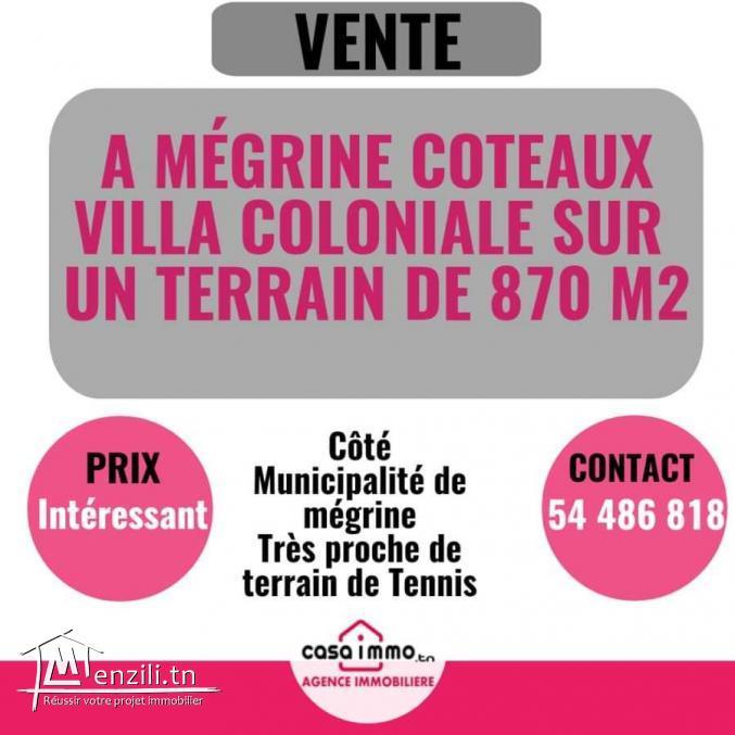 Villa et terrain 870 m2 mégrine Coteaux