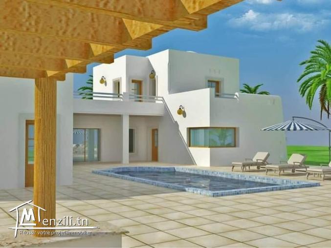 Maison non achevée à vendre titre bleu sur Djerba