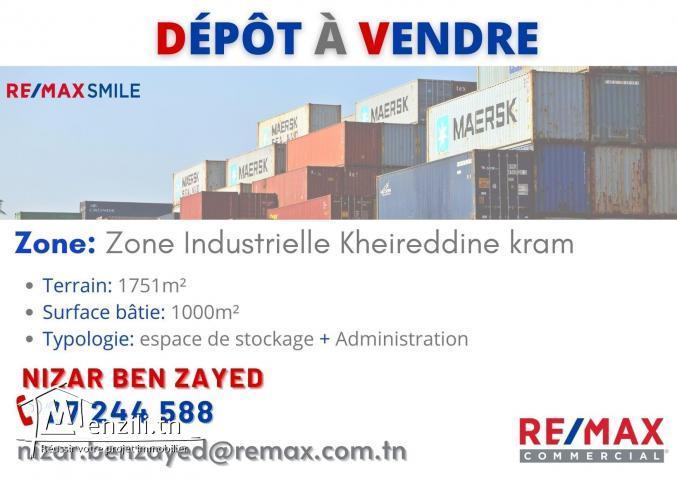 A vendre dépôt  à la zone industrielle le Kram