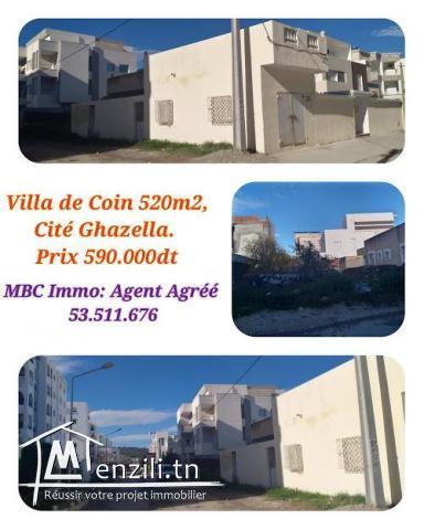 villa de coin 520m2 à cité el ghazella