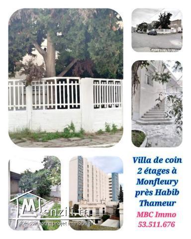 villa de coin 2 étages indépendants à montfleury tout près de l'hôpital habib thameur