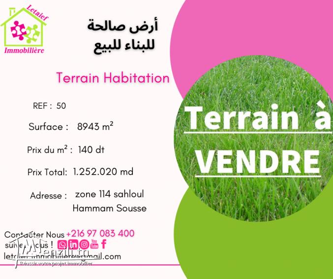 REF TH : 50 Terrain a vendre de 8943 m² a route ceinture ghrabi