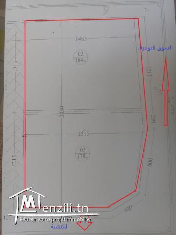 ارض للبيع مساحتها (362 م) صالحة للبناء في حمام سوسة
