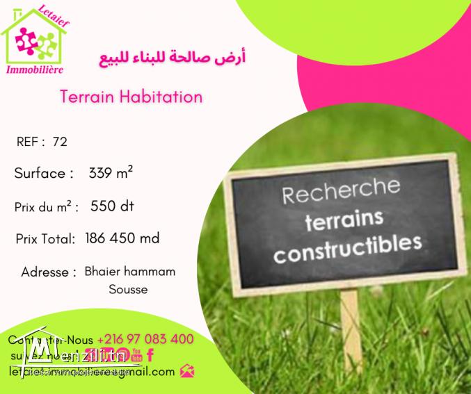REF TH 72 Terrain de 339 m² a bhaier