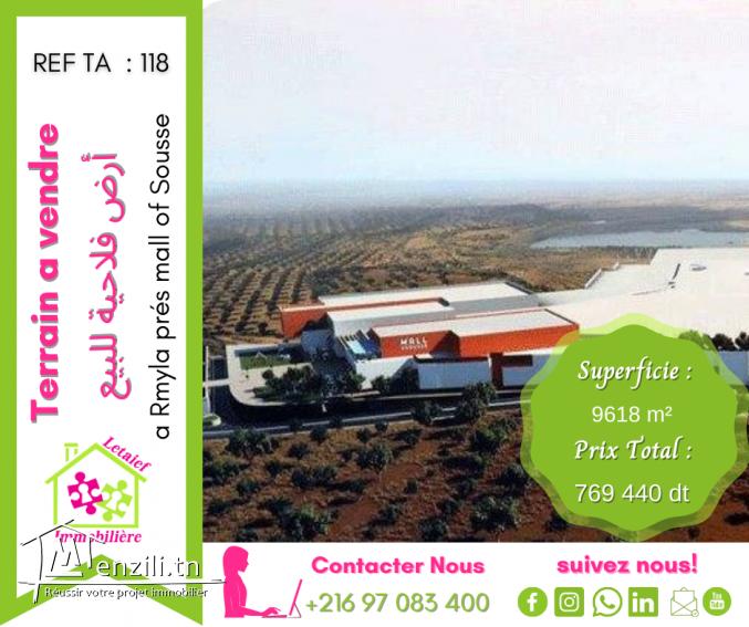 REF TA 118 Terrain de 9618 m² a rmyla prés mall of sousse