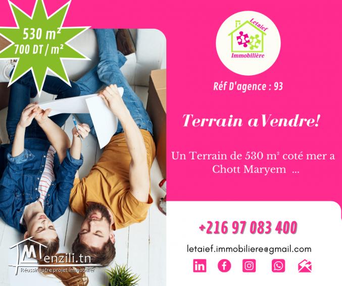 Réf D'agence : 93 Terrain de 530 m² a chott maryem