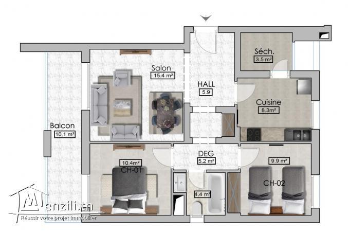 Appartement S+2 luxe de 107m² avec terrasse de 10m² à AFH, Mrezga