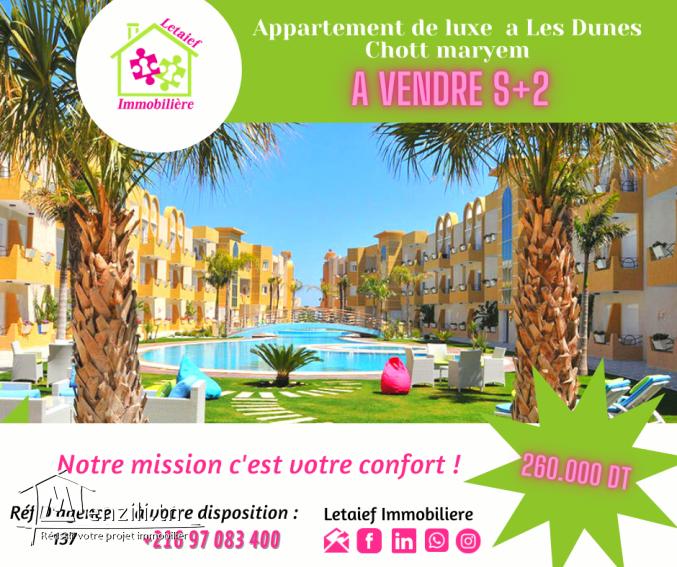 vendre un #Appartement #S2 à #Les Dunes Chott maryem????????