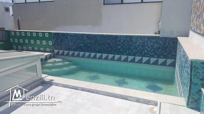 Une villa s4 style arabo-moresque avec piscine à Gammarth