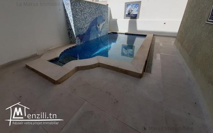 A louer un rez-de-chaussée s3 avec piscine à La Marsa