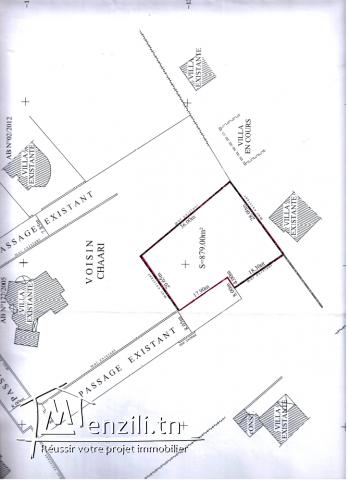 terrain de 880 m² à vendre rte Tunis Sfax
