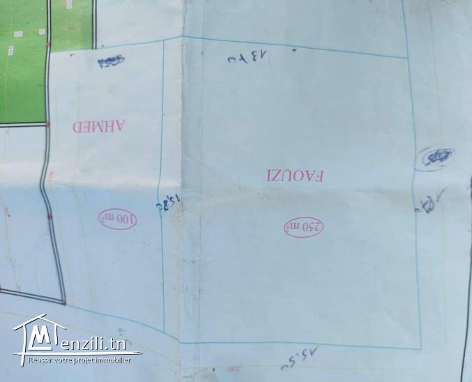A Vendre terrain de 250m² à Ain Zaghouan