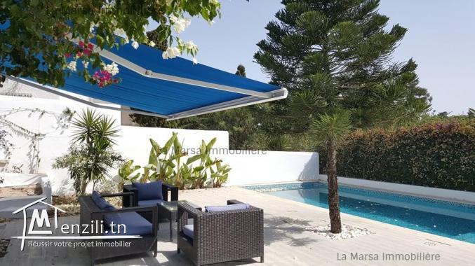 A Louer une maison s3 avec piscine et jardin à Sidi bou Saïd