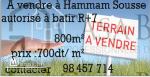 A vendre à Hammam sousse un terrain de 800m² autorisé à batir R+7.